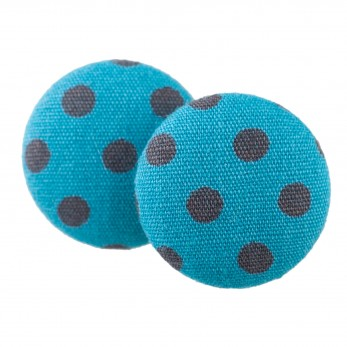 Malé buttonkové náušnice potažené látkou - Modré Puntíky