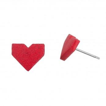 Dřevěné náušnice Pecki  - Srdce Lovemusic