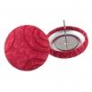 Malé buttonkové náušnice potažené látkou - Červené Spirálky