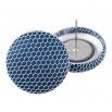 Malé buttonkové náušnice potažené látkou - Modrobílé Tylovky