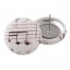 Malé buttonkové náušnice potažené látkou - Bíločerné Noty