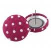 Malé buttonkové náušnice potažené látkou - Vínový Puntíček