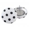 Malé buttonkové náušnice potažené látkou - Bíločerný puntíček