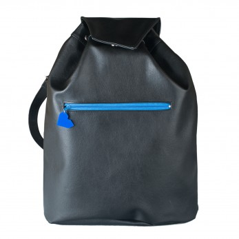 Koženkový batoh Téseus - černomodrý