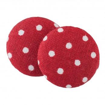 Malé buttonkové náušnice potažené látkou - Červený Puntíček