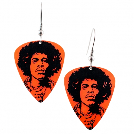 Visací náušnice trsátka Pickies - červené - Jimi Hendrix