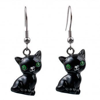 Visací náušnice 3D zvířátka - Kočka černá