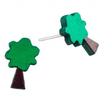 Dřevěné náušnice Pecki - Strom