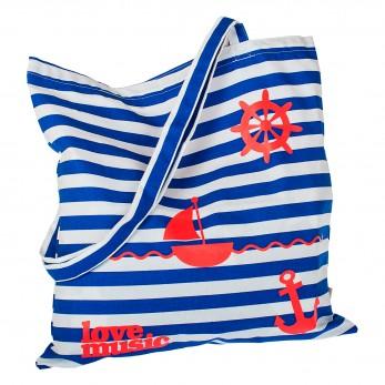 Pruhovaná plátěná taška s potiskem - Námořnická