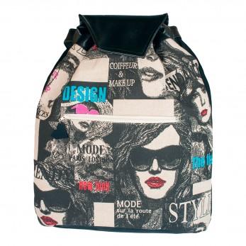 Látkový batoh Téseus s koženkou  - Glamour Fashion