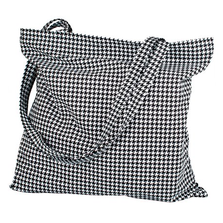 Černobílá plátěná taška se zipem - Elegant