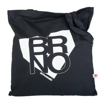 Černá plátěná taška s potiskem - Brno v srdci