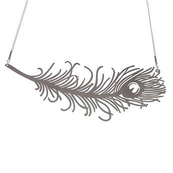 Dámský ocelový náhrdelník Witty - Paví pero