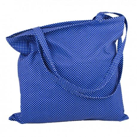 Modrobílá plátěná taška se zipem - Modrobílý puntíček