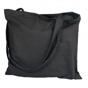 Černobílá plátěná taška se zipem - Černobílý puntíček