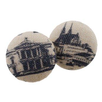 Malé buttonkové naušnice potažené látkou- Brno City