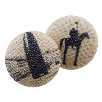 Malé buttonkové naušnice potažené látkou- Brno Falus