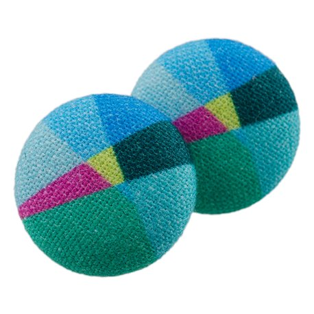 Malé buttonkové naušnice potažené látkou- Lovemusic blue