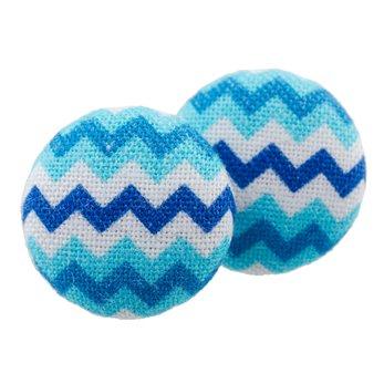 Malé buttonkové naušnice potažené látkou - Cik cak modrobílé