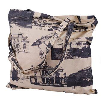 Černobílá plátěná taška se zipem – Brno City
