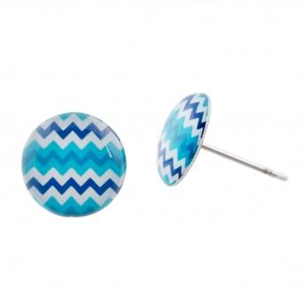 Malé náušnice pecky Epoxy – modrobílé – Cikcak