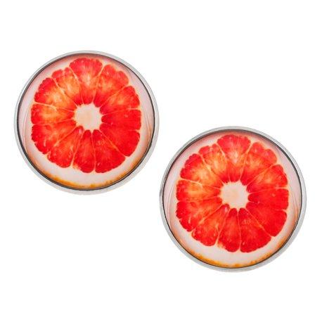 Velké náušnice pecky Epoxy - oranžovobílé - Grapefruit