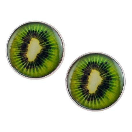 Velké náušnice pecky Epoxy - zelené - Kiwi