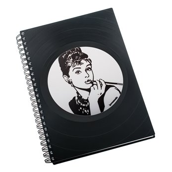 Zápisník z vinylových desek A5 - bez linek - Audrey Hepburn