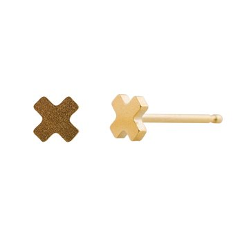 Ocelové náušnice pecky - Minikříž - Gold