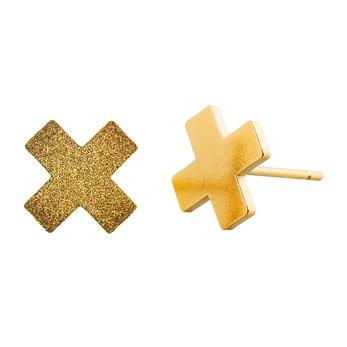 Ocelové náušnice pecky - Kříž - Gold