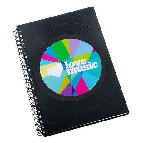 Zápisník z vinylových desek A5 - bez linek - Lovemusic in colors