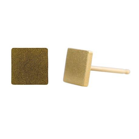 Ocelové náušnice pecky - Čtverec - Gold