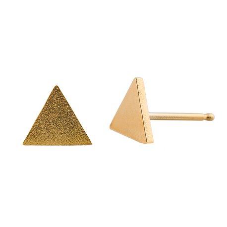 Ocelové náušnice pecky - Trojuhelník - Gold