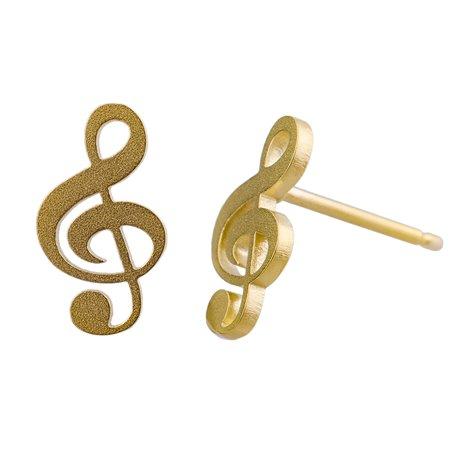 Ocelové náušnice pecky - Houslový klíč - Gold