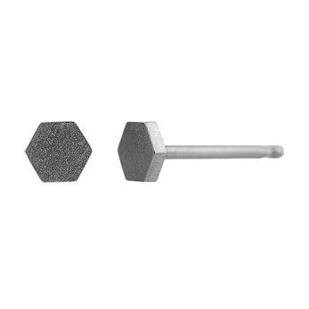 Ocelové náušnice pecky - Mini šestiuhelník